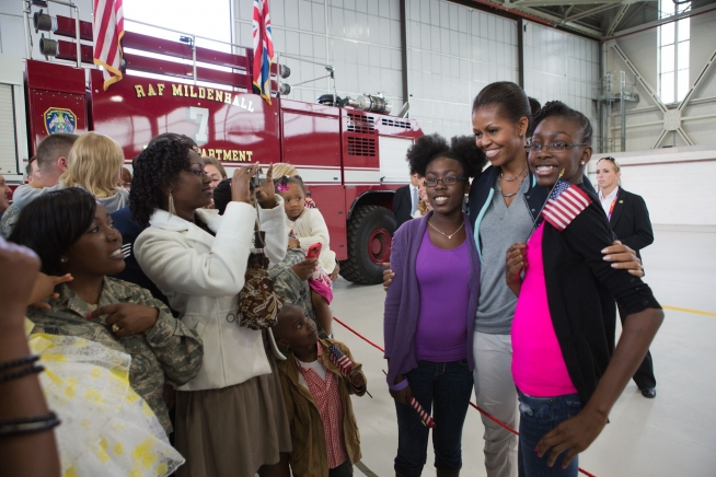 photo of Michelle Obama at a military base