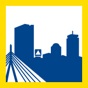 logo for Our Marathon featuring Boston skyline