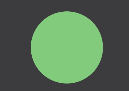 Still image from data visualization; green circle on black background